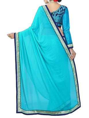 blue georgette bordered saree with blouse - 14506431 - Standard Image - 2