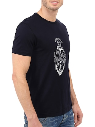 navy blue cotton chest print tshirt - 14506437 - Standard Image - 2