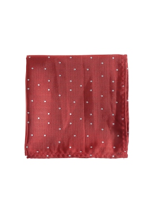 red  micro silk fabric tie with cuff link and pocket square - 14506857 - Standard Image - 2