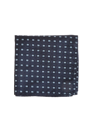 navy blue  micro silk fabric tie with cuff link and pocket square - 14506889 - Standard Image - 2