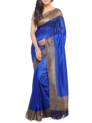 Set of 2 Multicolored tussar silk bordered saree with blouse - 14509813 - Standard Image - 2