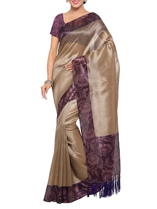 Set of 2 Multicolored tussar silk bordered saree with blouse - 14509830 - Standard Image - 2