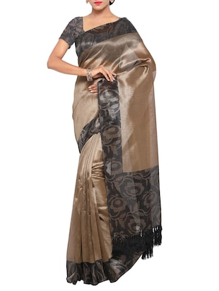 Set of 2 Multicolored tussar silk bordered saree with blouse - 14509833 - Standard Image - 2