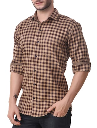 brown cotton casual shirt - 14510375 - Standard Image - 2