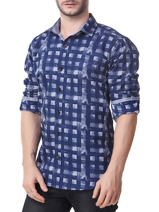 blue cotton casual shirt - 14510377 - Standard Image - 2