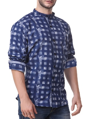 navy blue cotton casual shirt - 14510379 - Standard Image - 2