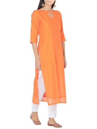 orange chanderi straight kurta - 14510657 - Standard Image - 2