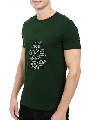 green cotton chest print tshirt - 14511397 - Standard Image - 2