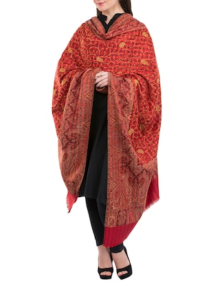 red wool blend shawl - 14511442 - Standard Image - 2