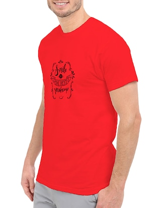 red cotton chest print tshirt - 14511664 - Standard Image - 2