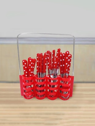 Red Polka Dots Cutlery Set of 25 Pcs