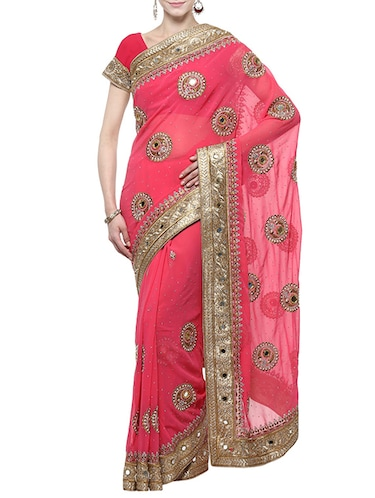 pink georgette embroidered saree with blouse - 14512199 - Standard Image - 1