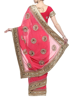 pink georgette embroidered saree with blouse - 14512199 - Standard Image - 2