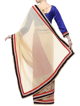 beige half and half saree with blouse - 14512205 - Standard Image - 2