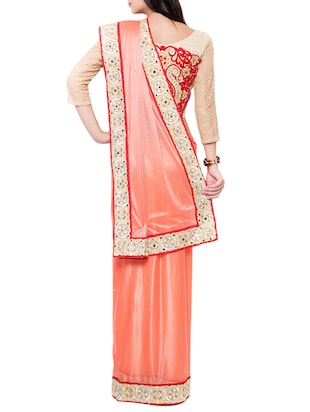 orange bordered saree with blouse - 14512216 - Standard Image - 2