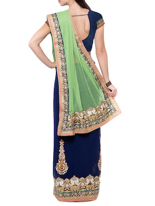 blue half and half saree with blouse - 14512222 - Standard Image - 2