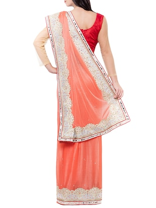 pink georgette embroidered saree with blouse - 14512229 - Standard Image - 2