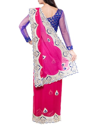 pink embroidered saree with blouse - 14512256 - Standard Image - 2