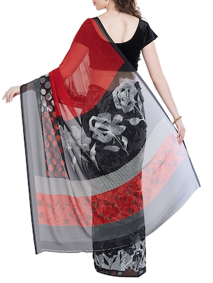 black georgette printed saree with blouse - 14512574 - Standard Image - 2