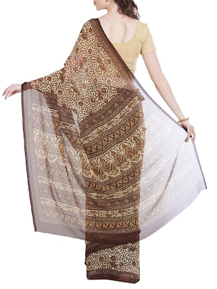 brown georgette printed saree with blouse - 14512577 - Standard Image - 2