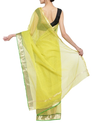 yellow kota doria saree with blouse - 14513489 - Standard Image - 2
