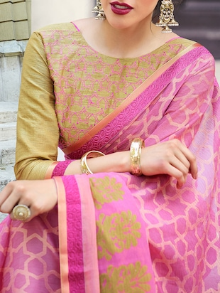 pink cotton printed saree with blouse - 14513561 - Standard Image - 2