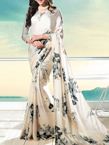 beige printed saree with blouse - 14513618 - Standard Image - 1