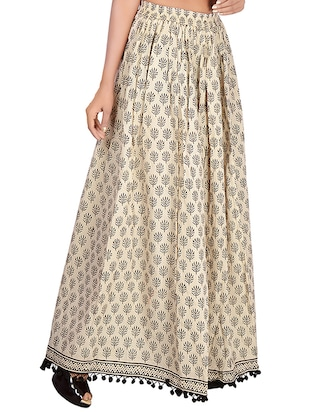 Beige cotton flared skirt - 14513705 - Standard Image - 2
