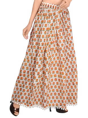 Orange cotton flared skirt - 14513708 - Standard Image - 2