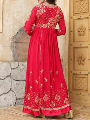 Embroidered semi-stitched flared suit - 14514080 - Standard Image - 2