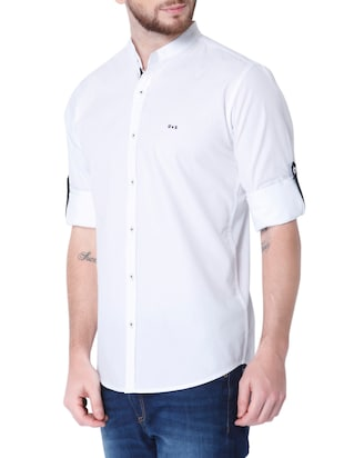 white cotton casual shirt - 14514091 - Standard Image - 2