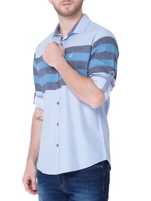 blue cotton casual shirt - 14514093 - Standard Image - 2