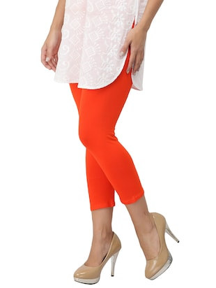 orange cotton lycra leggings - 14514774 - Standard Image - 2