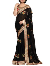 black georgette embroidered saree -  online shopping for Sarees