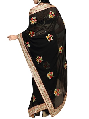 black georgette embroidered saree with blouse - 14516281 - Standard Image - 2