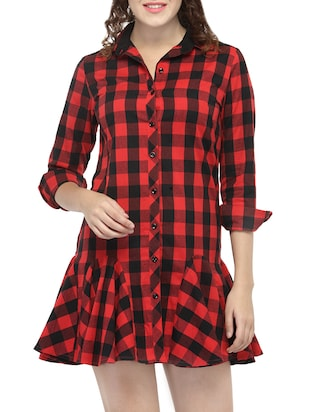 Red Checkered Ruffled Dress - 14516328 - Standard Image - 2