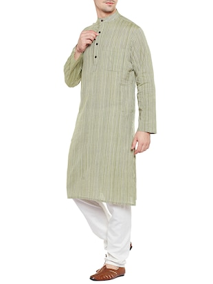 green cotton long kurta - 14517389 - Standard Image - 2