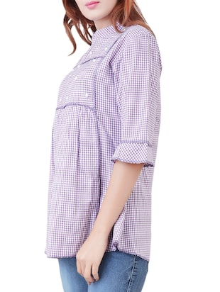 purple checkered cotton tunic - 14519322 - Standard Image - 2
