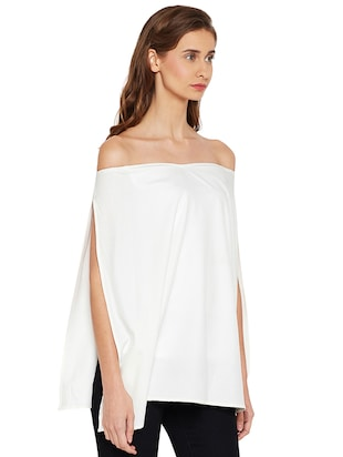Slit sleeved off shoulder top - 14519341 - Standard Image - 2