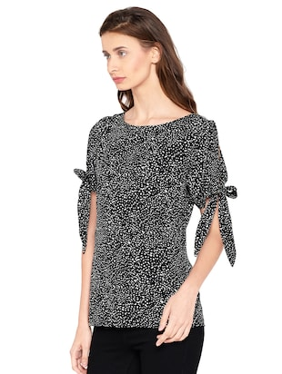 Side tie up sleeved top - 14519342 - Standard Image - 2