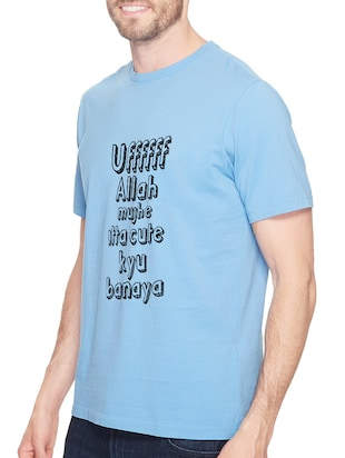 blue cotton front print t-shirt - 14520046 - Standard Image - 2