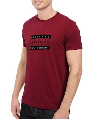 maroon cotton chest print tshirt - 14520671 - Standard Image - 2