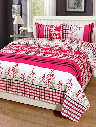 PolyCotton Printed Double Bed Sheet with 2 Pillow Covers - 14521084 - Standard Image - 2