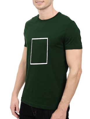 green cotton chest print tshirt - 14521173 - Standard Image - 2