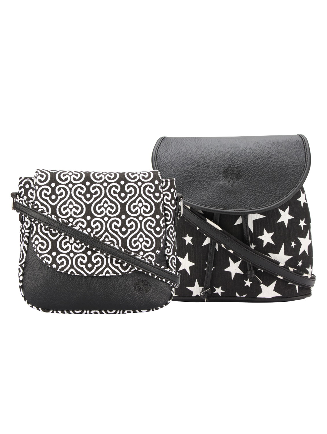 black leatherette  printed sling bag tn10