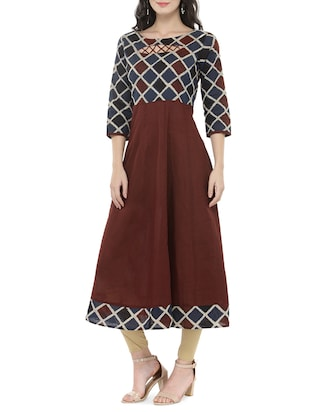 brown cotton anarkali kurta - 14521485 - Standard Image - 2