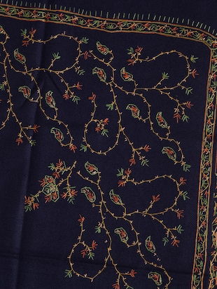 Navy blue embroidered shawl - 14521723 - Standard Image - 2