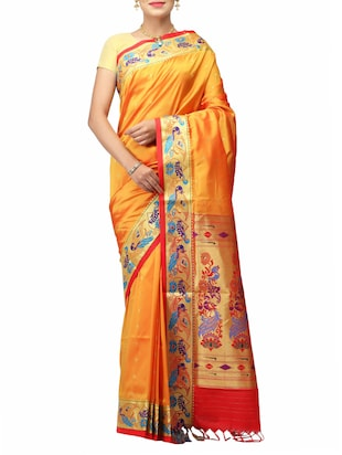 mustard art silk handloom saree