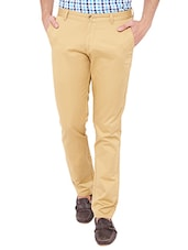 beige cotton chinos casual trousers -  online shopping for Casual Trousers