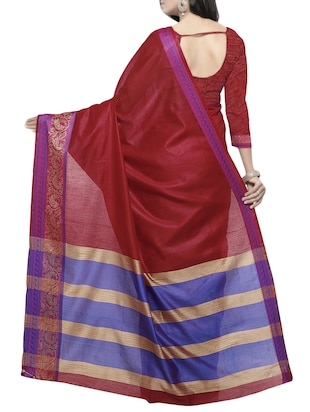 maroon cotton bordered saree with blouse - 14527238 - Standard Image - 2